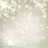 Scintillio dorato del fondo di festa di Natale astratto Defocused Fotografia Stock Libera da Diritti