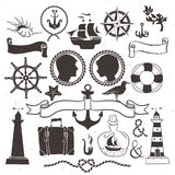 Sea romantic travel. Vintage hand drawn elements in nautical Royalty Free Stock Image