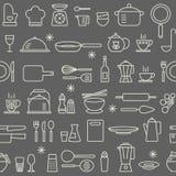 Seamless background pattern Cooking Kitchen utensil icons set Royalty Free Stock Photos
