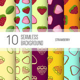 10 seamless backgrounds or patterns with fruit. Royalty Free Stock Images