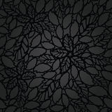 Seamless black leaves and flowers lace wallpaper pattern Royalty Free Stock Photo
