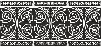 Seamless black-and-white gothic floral border Royalty Free Stock Images