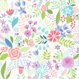 Seamless Floral colorful hand drawn pattern. Stock Photography