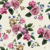 Seamless floral pattern with pink roses on light background, wat Stock Photography