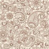 Seamless Henna Paisley Flowers Pattern Vector Illu Stock Photo