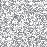 Seamless lace floral pattern on gray background Royalty Free Stock Photo