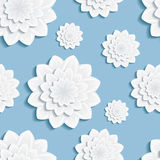 Seamless pattern blue with 3d flower chrysanthemum Royalty Free Stock Images