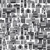 Seamless pattern with cartoon buildings Stock Photo