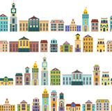 Seamless pattern with cartoon buildings Royalty Free Stock Images