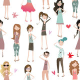 Seamless pattern with fashion girls Stock Photo