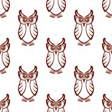 Seamless pattern of a wise old owl Stock Images