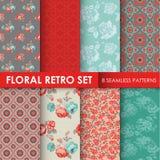 8 Seamless Patterns - Floral Retro Set Stock Photo