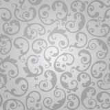 Seamless silver swirls floral wallpaper pattern Stock Photo