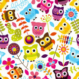 Seamless and Tileable Vector Owl Background Pattern Royalty Free Stock Photo