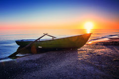 Seascape with fishing boat Royalty Free Stock Image