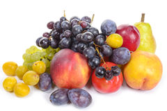 Seasonal fruits, grapes, plums, pears Stock Photography