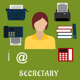 Secretary or assistant profession flat icons Royalty Free Stock Photos