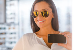 Selfie in optic store. Stock Images