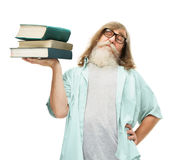 Senior in glasses lifting books, old man knowledge education Stock Photo