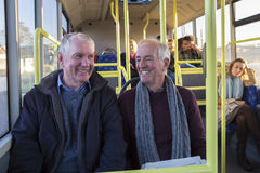 Senior men on the bus Stock Photography