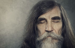 Senior Old Man Eyes Closed, Elderly People Portrait, Aged Face Stock Photos