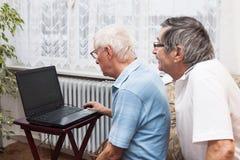Seniors computer learning Stock Image