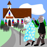 Seniors going to church Royalty Free Stock Photography