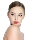 Sensuality teen girl with red lipstick Royalty Free Stock Photos