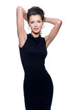 Sensuality woman in black dress Stock Images