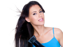 Sensuality woman drying her hair Stock Image