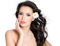 Sensuality  woman with fresh skin of face Stock Photography
