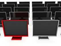Series of flat screen televisions Royalty Free Stock Image