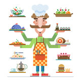 Served dishes. Meal in a restaurant Stock Images