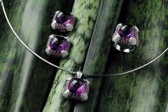 Set of Amethyst Jewelry Royalty Free Stock Images
