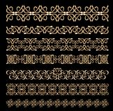 Set of art deco embossed ornamental borders in golden design Stock Images