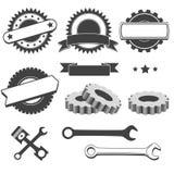 Set of badge, emblem, logotype element for mechanic, garage, car repair, auto service Stock Photo