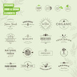 Set of badges and labels elements for organic food Stock Photos