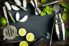 Set of bar accessories and ingredients for making a cocktails arranged Royalty Free Stock Photography