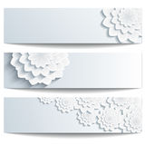 Set of beautiful banners with 3d chrysanthemum Stock Photo