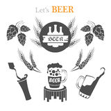 Set of beer emblems, symbols, logo, badges, signs, icons and design elements. Stock Images