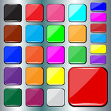 Set of blank colorful square buttons. Stock Images
