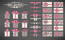 Set of bows and gift boxes Stock Image