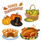 Set of cartoon icons for thanksgiving dinner, roast Turkey Royalty Free Stock Photos