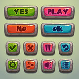 Set of cartoon stone buttons Stock Images