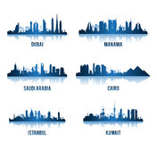 Set of Cities in Middle East Famous Buildings Stock Photography
