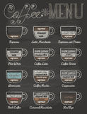 Set of coffee menu in vintage style with chalkboard Stock Photos