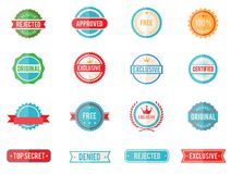 Set of colored emblems and stamps Royalty Free Stock Photos
