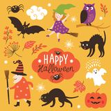 Set of cute vector Halloween elements Stock Image