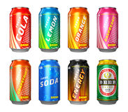 Set of drink cans Stock Photos