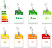 Set of energy class tag Stock Image